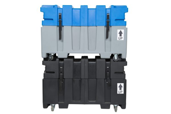 Against a white backdrop, we see two, stacked, roto-molded trade show shipping cases. The top case is blue and grey, while the bottom case is all black.